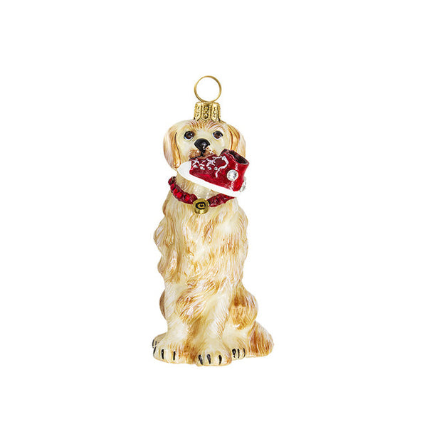 Golden Retriever Holding Sneaker Ornament