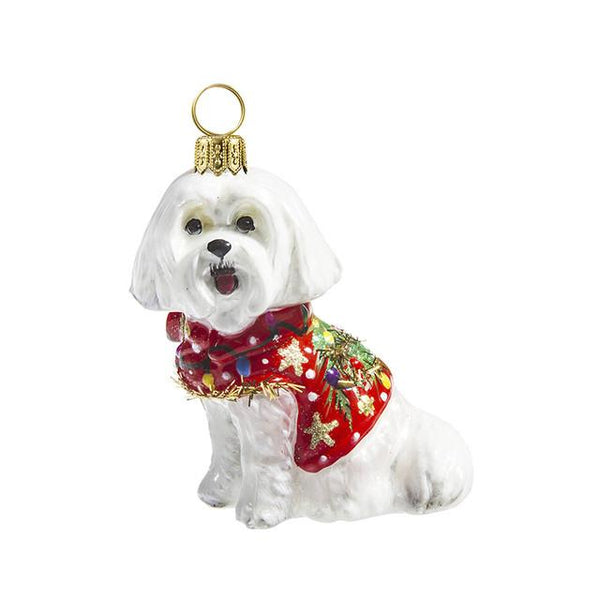 Maltese Ornament in Ugly Christmas Sweater