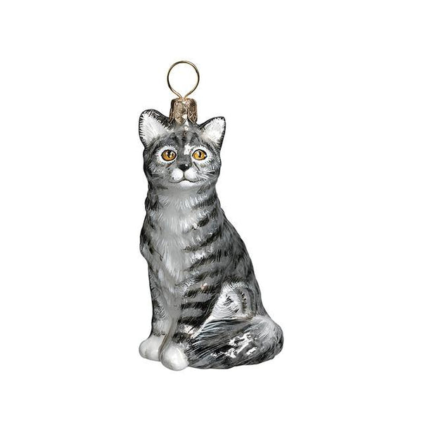 American Shorthair Cat Glass Ornament