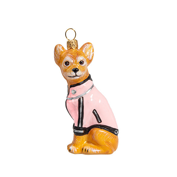 Chihuahua Ornament in Pink Motorcycle Jacket