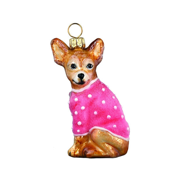 Chihuahua Pet Ornament in Pink Velvet Coat