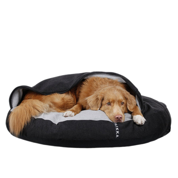Calming dog bed to help aching joints for injured or senior dogs. Perfect for dogs who like to burrow.