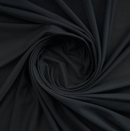 BLACK | 5110- - POWER MESH POLY/SPANDEX - Zelouf Fabrics