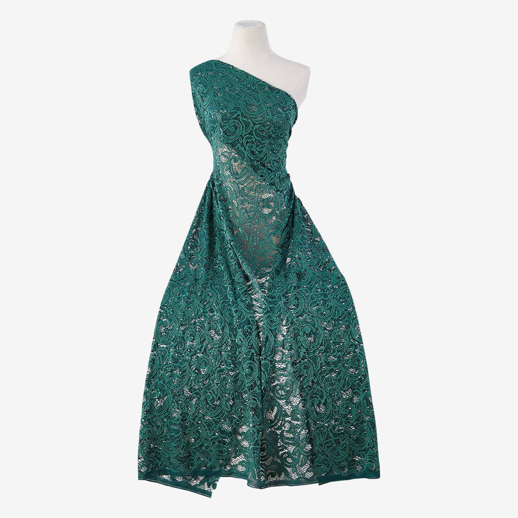 MAJESTIC EMERALD | 21756-GREEN - JACQUARD NET STRETCH LACE WITH SEQUINS - Zelouf Fabrics