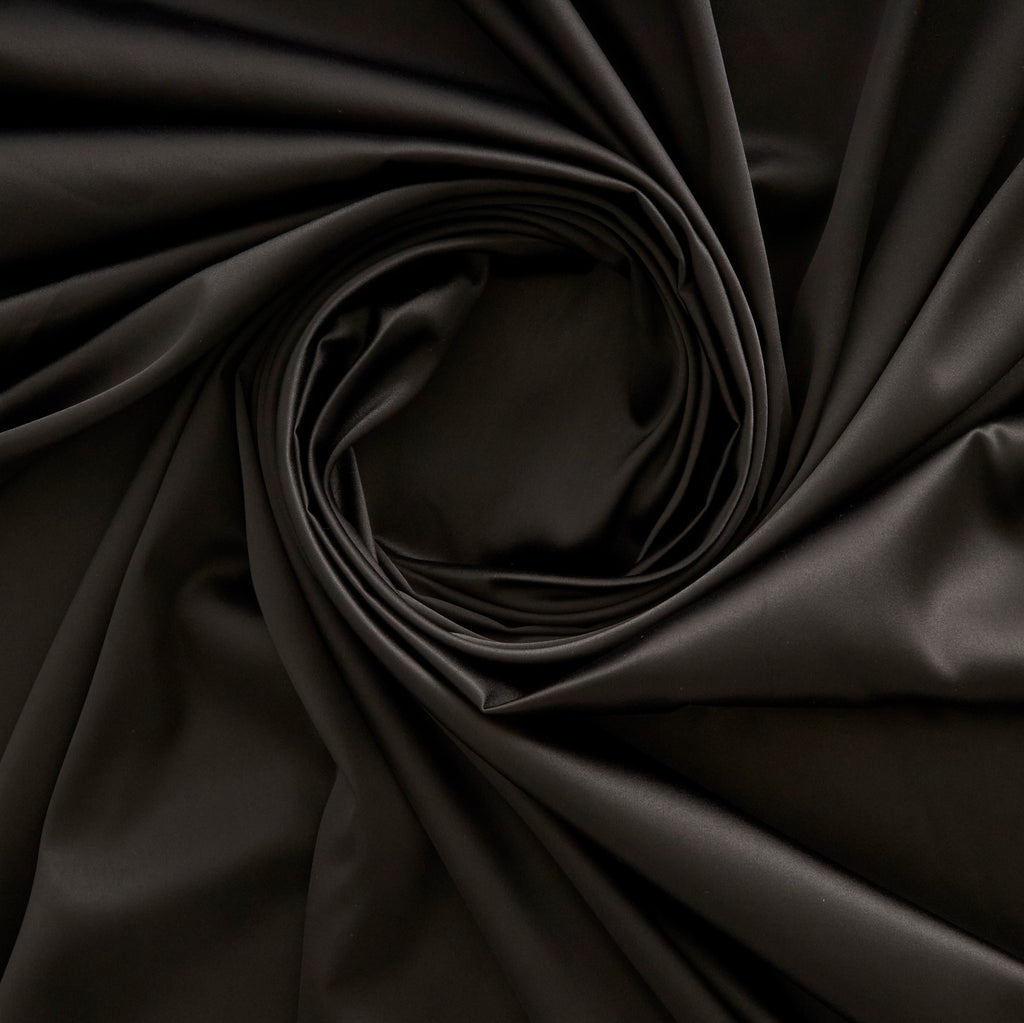BLACK | 3404-BLACK - DULL STRETCH SATIN - Zelouf Fabrics