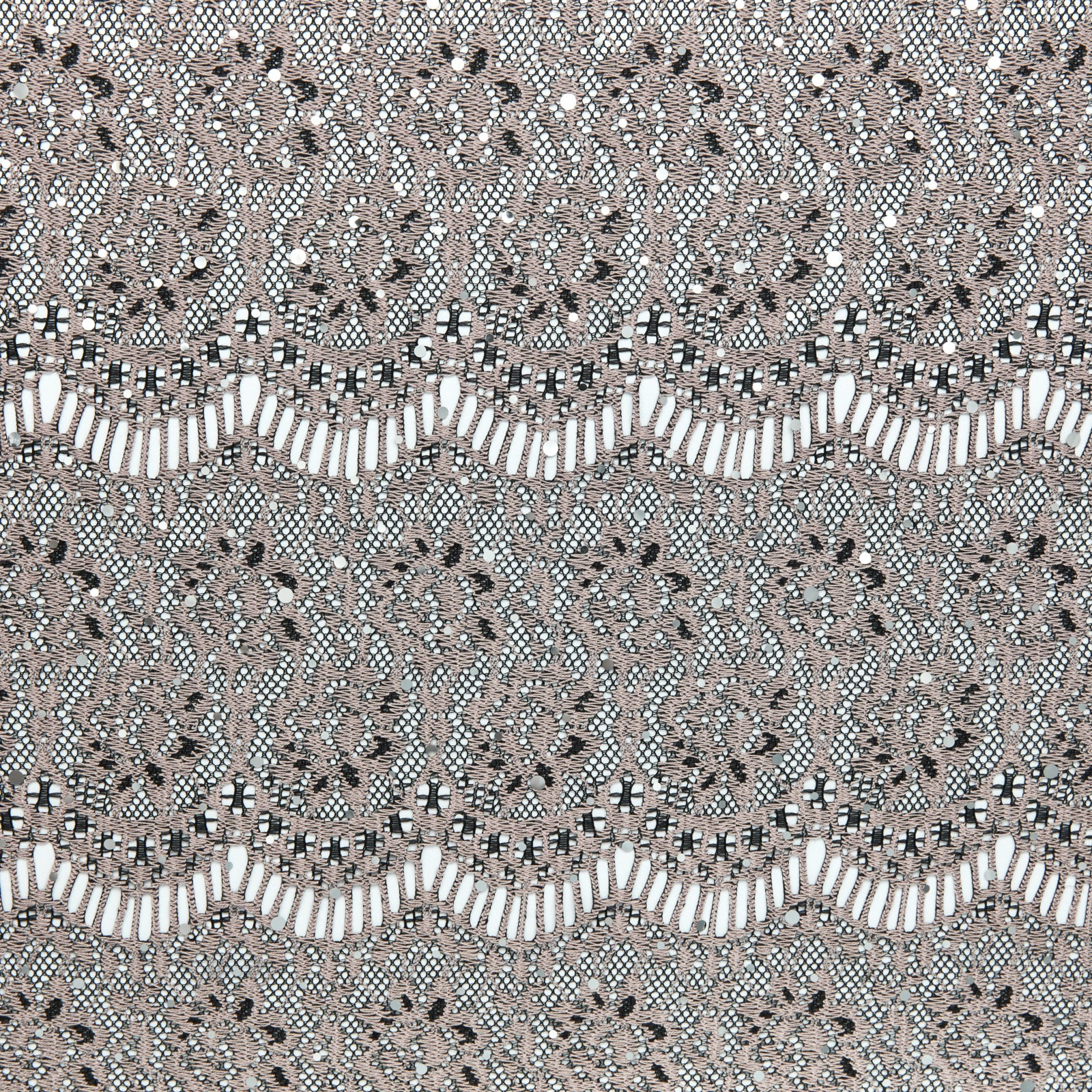 BLACK/TAN | 5202 - CROCHET LACE WITH TRANS - Zelouf Fabrics