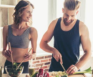 A couple preparing a healthy keto meal in the kitchen