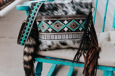 Turquoise Cocoa Black and White Hide Reba