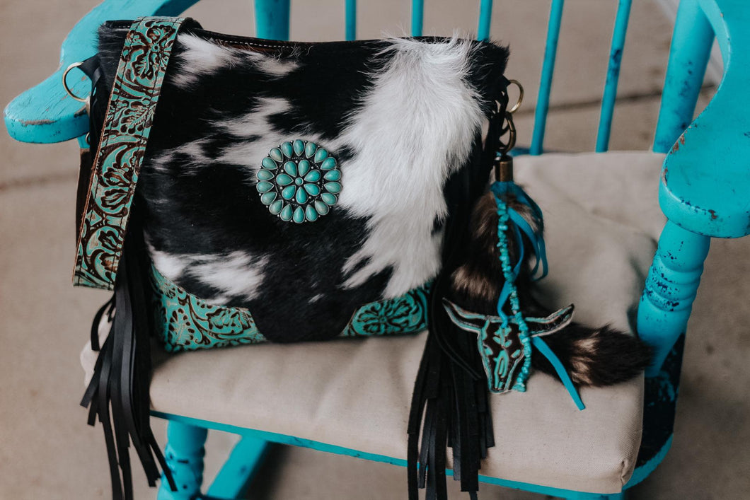 Cowboy Tool Turquoise with Black and White Hide Dolly
