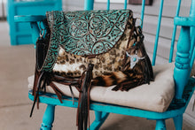 Load image into Gallery viewer, Leopard Metallic Turquoise Cowboy Tool Juney