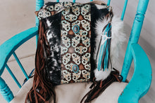 Load image into Gallery viewer, Turquoise Swirls and Black and White Hide Backpack