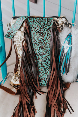 Metallic Leopard and Turquoise Cowboy Tool Backpack