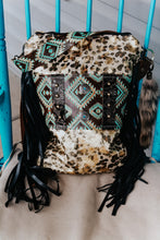Load image into Gallery viewer, Turquise Copper Myan Diamond Leopard Acid Wash Backpack