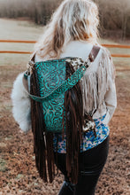 Load image into Gallery viewer, Metallic Leopard and Turquoise Cowboy Tool Backpack