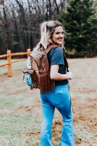 Bright Blue Pendleton and Sepia Croc Classic Backpack