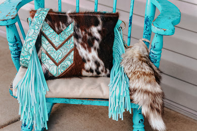 Tri-Color Cowhide with Chevron Arrow Turquoise Roses Small Dolly