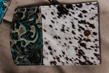 Load image into Gallery viewer, Valentina Turquoise Brown with Speckled Cowhide with Matching Wristlet Wallet