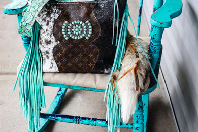 Brown Speckled with Repurposed LV and Turquoise Concho Patsy