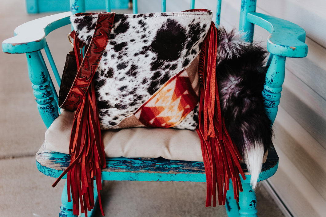 Sunset Red Pendleton with Speckled Cowhide Dolly