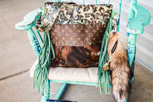 Turquoise Valentina with Thick Repurposed LV and Tri-Color Cowhide Patsy