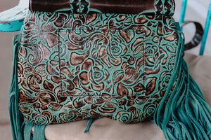 Dark Turquoise Longhorn Juney with Turquoise Roses Speckled Cowhide Juney