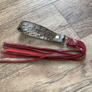 Ivory and Brown Croc with Red Fringe