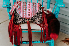 Load image into Gallery viewer, Red/Turquoise Navajo with Snow Leopard Small Juney