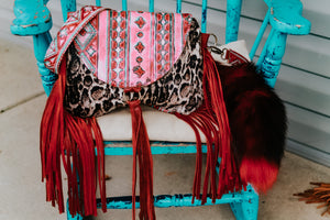 Red/Turquoise Navajo with Snow Leopard Small Juney