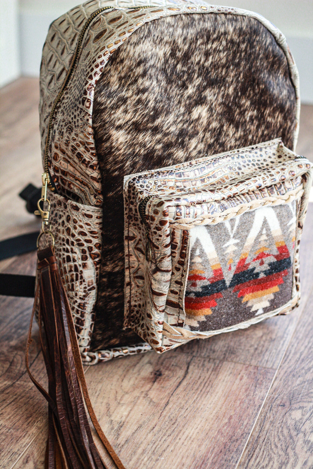 Crest Pendleton with Ivory Croc Classic Backpack