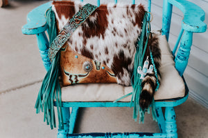 Brown Speckled with Tan Turquoise Longhorn Dolly