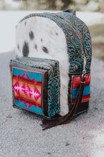 Load image into Gallery viewer, Pink and Turquoise Pendleton with Speckled Cowhide Backpack