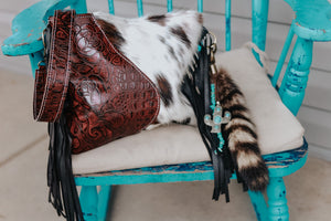 Deep Red Roses/Gator Speckled Cowhide Reba