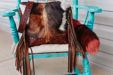 Tri-Color Cowhide and Maroon Croc Dolly