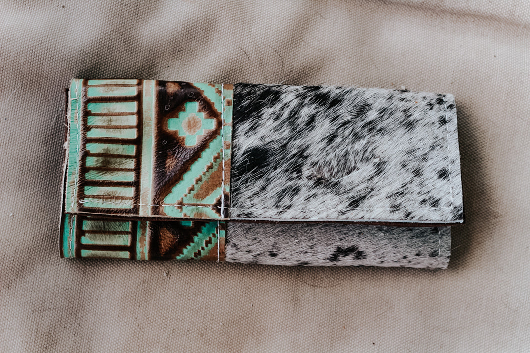 Turquoise Brown and Speckled Hide Wallet