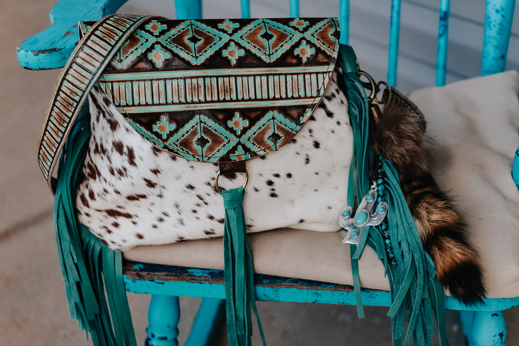 Turquoise Brown Native American and Speckled Hide