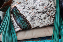 Load image into Gallery viewer, Black speckled Cowhide with rose gold acid wash with Feathers Kindall