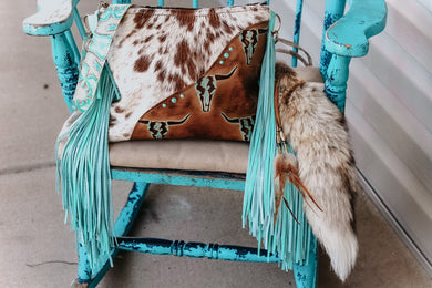 Turquoise Longhorn with Speckled Cowhide Kindall