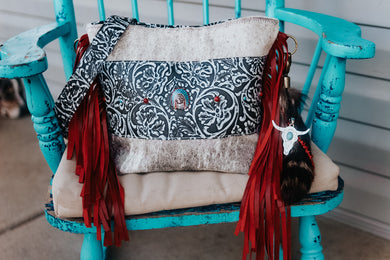Grey Cowboy Tool with Headress Concho and Red Fringe Small Dolly