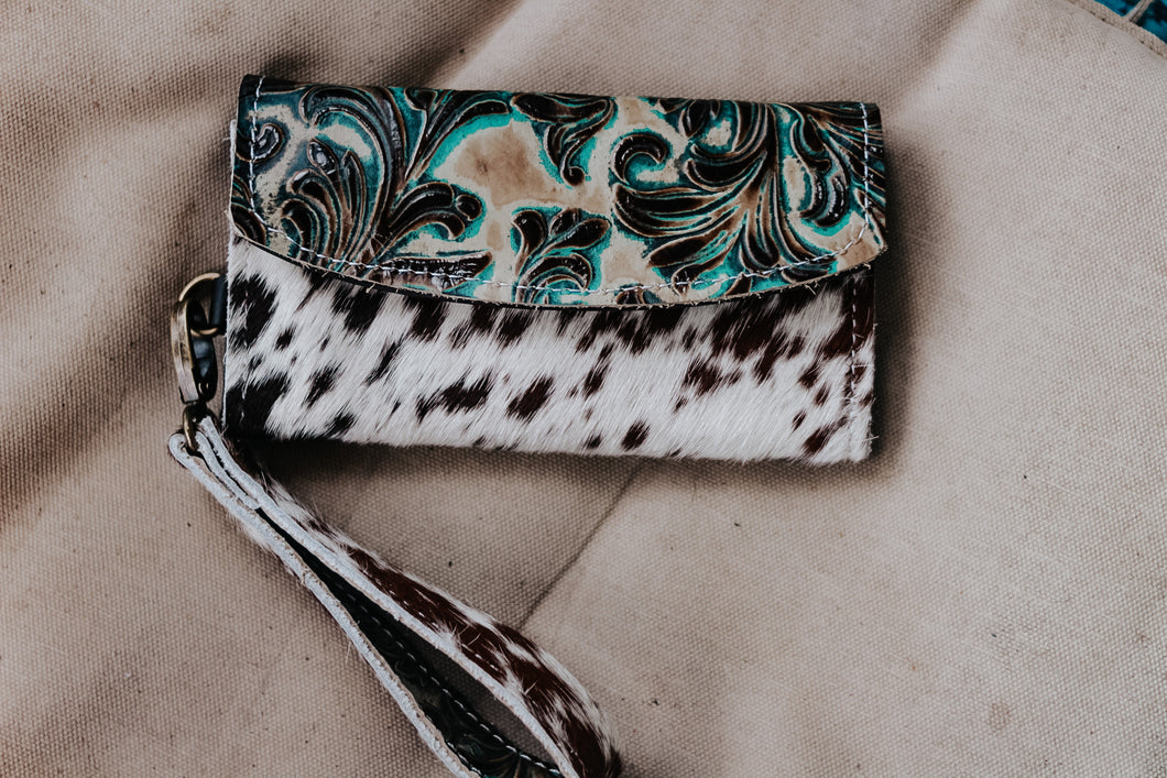 Valentina Turquoise Brown with Speckled Cowhide with Matching Wristlet Wallet
