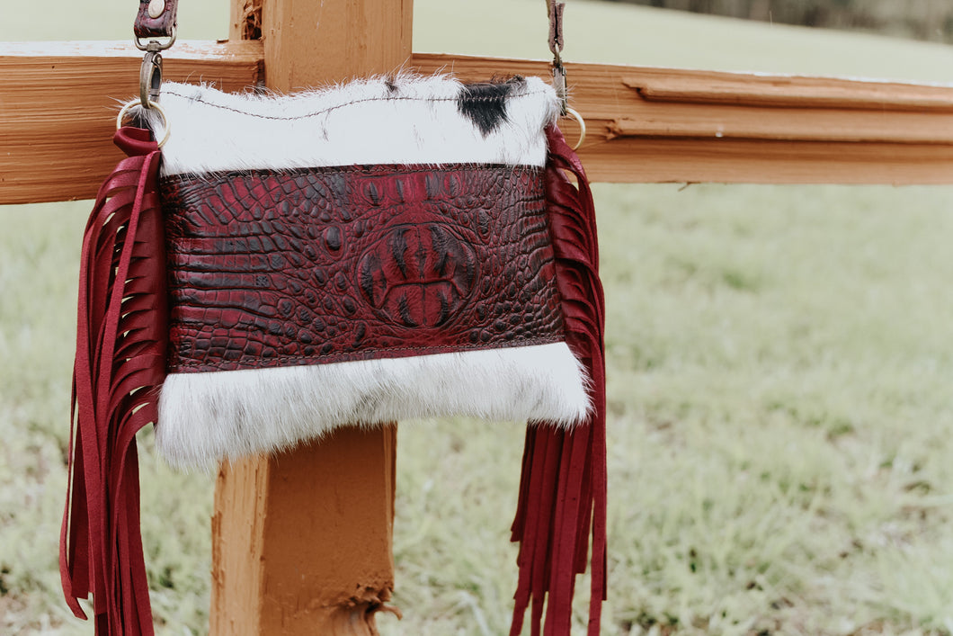 Maroon Gator/Black and White Hide Maybell