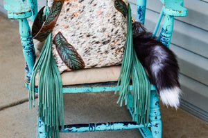 Black speckled Cowhide with rose gold acid wash with Feathers Kindall