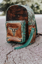 Load image into Gallery viewer, Turquoise and Light Tan Longhorn with Turquoise Cowboy Tool Backpack