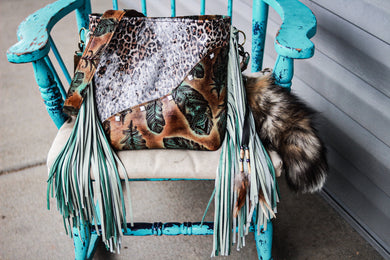 Turquoise Sepia Feathers with Paper Italy Leopard Dolly