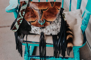 Longhorn Juney with Turquoise Laredo and Speckled Cowhide Juney