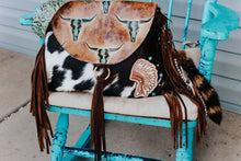 Load image into Gallery viewer, Tan Turquoise Longhorn with Tri-Color Cowhide Headdress Large Juney
