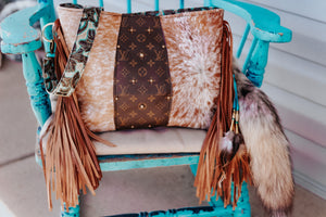 Speckled cowhide with Turquoise Valentina with LV Dutton
