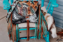 Load image into Gallery viewer, Turquoise/Tan Feathers with Speckled Hide Juney