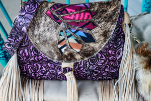 Light Brindle Headress Pendleton Inlay Purple Roses Juney