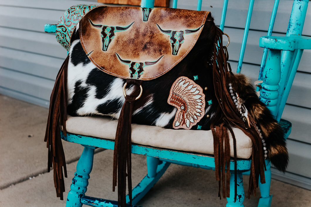 Tan Turquoise Longhorn with Tri-Color Cowhide Headdress Large Juney