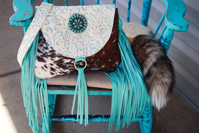 Turquoise/Light Green Cowboy Tool with Speckled Cowhide Juney